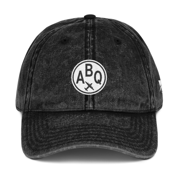 RWY23 - ABQ Albuquerque Cotton Twill Cap - Airport Code and Vintage Roundel Design - Black - Front - Christmas Gift