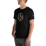 RWY23 - LGA New York T-Shirt - Airport Code and Vintage Roundel Design - Adult - Black - Gift for Dad or Husband