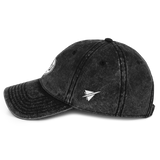 RWY23 - HOU Houston Cotton Twill Cap - Airport Code and Vintage Roundel Design - Black - Left Side - Birthday Gift