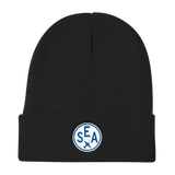 RWY23 - SEA Seattle Winter Hat - Embroidered Airport Code and Vintage Roundel Design - Black - Christmas Gift