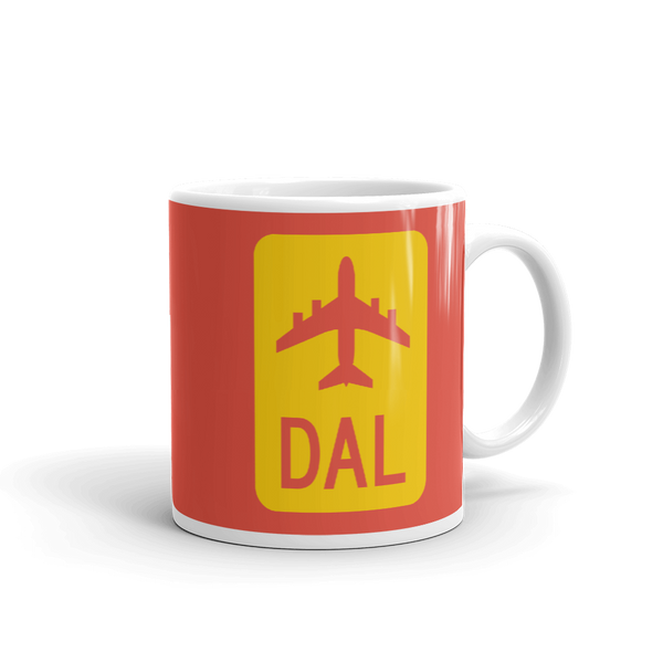 RWY23 - DAL Dallas Airport Code Jetliner Coffee Mug - Graduation Gift, Housewarming Gift - Red and Yellow - Right