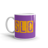 RWY23 - SLC Salt Lake City, Utah Airport Code Coffee Mug - Birthday Gift, Christmas Gift - Orange and Purple - Left
