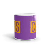 RWY23 - CHS Charleston, South Carolina Airport Code Coffee Mug - Teacher Gift, Airbnb Decor - Orange and Purple - Side