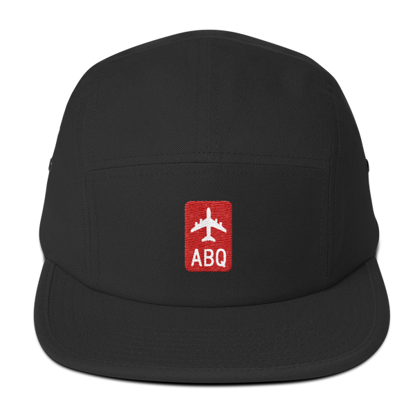 RWY23 - ABQ Albuquerque Retro Jetliner Airport Code Camper Hat - Black - Front - Student Gift