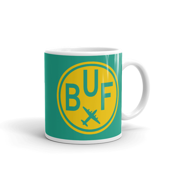 RWY23 - BUF Buffalo, New York Airport Code Coffee Mug - Graduation Gift, Housewarming Gift - Yellow and Green-Aqua - Right