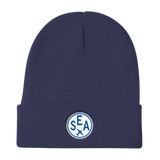 RWY23 - SEA Seattle Winter Hat - Embroidered Airport Code and Vintage Roundel Design - Navy Blue - Travel Gift