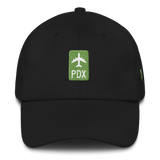 RWY23 - PDX Portland Retro Jetliner Airport Code Dad Hat - Black - Front - Christmas Gift