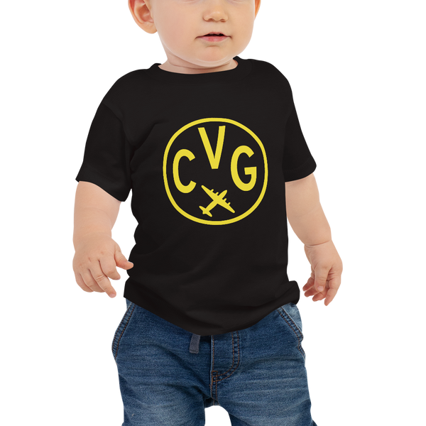 CVG Cincinnati T-Shirt • Baby • Airport Code & Vintage Roundel Design • Yellow Graphic