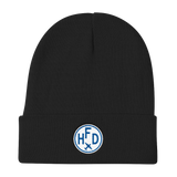 RWY23 - HFD Hartford Winter Hat - Embroidered Airport Code and Vintage Roundel Design - Black - Christmas Gift
