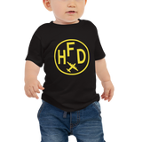 RWY23 - HFD Hartford T-Shirt - Airport Code and Vintage Roundel Design - Baby - Black - Gift for Child or Children