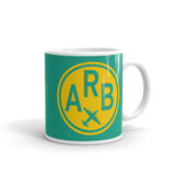 RWY23 - ARB Ann Arbor, Michigan Airport Code Coffee Mug - Graduation Gift, Housewarming Gift - Yellow and Green-Aqua - Right