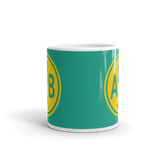 RWY23 - ARB Ann Arbor, Michigan Airport Code Coffee Mug - Teacher Gift, Airbnb Decor - Yellow and Green-Aqua - Side