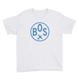 RWY23 - BOS Boston T-Shirt - Airport Code and Vintage Roundel Design - Youth - White - Gift for Child or Children
