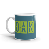 RWY23 - OAK Oakland, California Airport Code Coffee Mug - Birthday Gift, Christmas Gift - Green and Teal - Left