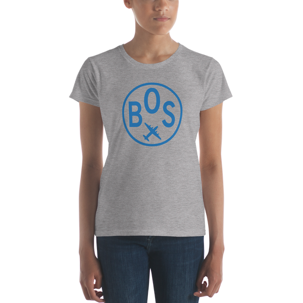 RWY23 - BOS Boston T-Shirt - Airport Code and Vintage Roundel Design - Women's - Heather Grey - Gift for Her