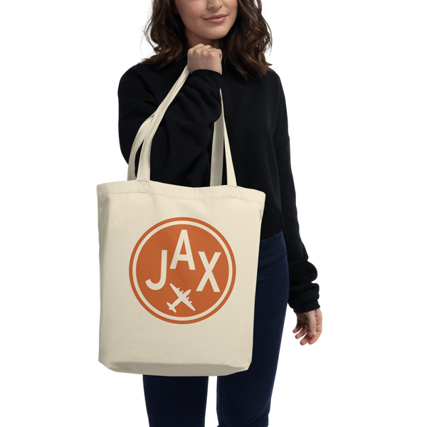 RWY23 - JAX Jacksonville Organic Tote - Airport Code & Vintage Roundel Design - Environmentally-Conscious Gift