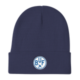 RWY23 - BUF Buffalo Winter Hat - Embroidered Airport Code and Vintage Roundel Design - Navy Blue - Travel Gift