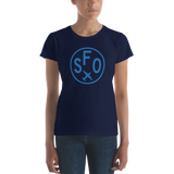 RWY23 - SFO San Francisco T-Shirt - Airport Code and Vintage Roundel Design - Women's - Navy Blue - Gift for Wife