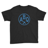 RWY23 - ABQ Albuquerque T-Shirt - Airport Code and Vintage Roundel Design - Youth - Black - Gift for Grandchild
