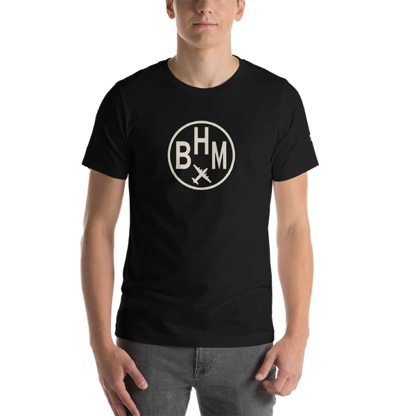 RWY23 - BHM Birmingham T-Shirt - Airport Code and Vintage Roundel Design - Adult - Black - Birthday Gift