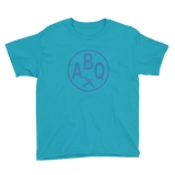 RWY23 - ABQ Albuquerque T-Shirt - Airport Code and Vintage Roundel Design - Youth - Caribbean blue - Gift for Kids