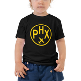 RWY23 - PHX Phoenix T-Shirt - Airport Code and Vintage Roundel Design - Toddler - Black - Gift for Grandchild or Grandchildren