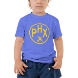 RWY23 - PHX Phoenix T-Shirt - Airport Code and Vintage Roundel Design - Toddler - Blue - Gift for Child or Children