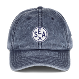 RWY23 - SEA Seattle Cotton Twill Cap - Airport Code and Vintage Roundel Design - Navy Blue - Front - Student Gift