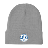 RWY23 - JFK New York Winter Hat - Embroidered Airport Code and Vintage Roundel Design - Gray - Birthday Gift