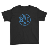 RWY23 - BWI Baltimore-Washington T-Shirt - Airport Code and Vintage Roundel Design - Youth - Black - Gift for Grandchild