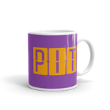 RWY23 - PIT Pittsburgh, Pennsylvania Airport Code Coffee Mug - Graduation Gift, Housewarming Gift - Orange and Purple - Right