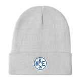 RWY23 - MKE Milwaukee Winter Hat - Embroidered Airport Code and Vintage Roundel Design - White - Aviation Gift