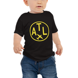 RWY23 - ATL Atlanta T-Shirt - Airport Code and Vintage Roundel Design - Baby - Black - Gift for Child or Children
