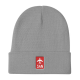 RWY23 - SAN San Diego Retro Jetliner Airport Code Dad Hat - Grey - Student Gift