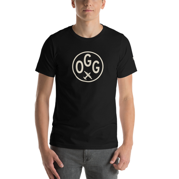 OGG Maui T-Shirt • Adult • Airport Code & Vintage Roundel Design • Light Brown Graphic