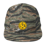 RWY23 - LGA New York Camper Hat - Airport Code and Vintage Roundel Design -Green Tiger Camo - Gift for Him