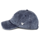 RWY23 - PHX Phoenix Cotton Twill Cap - Airport Code and Vintage Roundel Design - Navy Blue - Left Side - Travel Gift