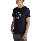 RWY23 - SEA Seattle T-Shirt - Airport Code and Vintage Roundel Design - Adult - Navy Blue - Gift for Dad or Husband