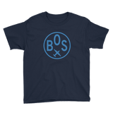 RWY23 - BOS Boston T-Shirt - Airport Code and Vintage Roundel Design - Youth - Navy Blue - Gift for Grandchildren