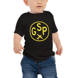 GSP Greenville-Spartanburg T-Shirt • Baby • Airport Code & Vintage Roundel Design • Yellow Graphic