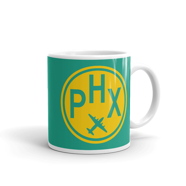 RWY23 - PHX Phoenix, Arizona Airport Code Coffee Mug - Graduation Gift, Housewarming Gift - Yellow and Green-Aqua - Right