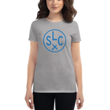 RWY23 - SLC Salt Lake City T-Shirt - Airport Code and Vintage Roundel Design - Women's - Heather Grey - Gift for Her