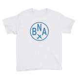 RWY23 - BNA Nashville T-Shirt - Airport Code and Vintage Roundel Design - Youth - White - Gift for Child or Children