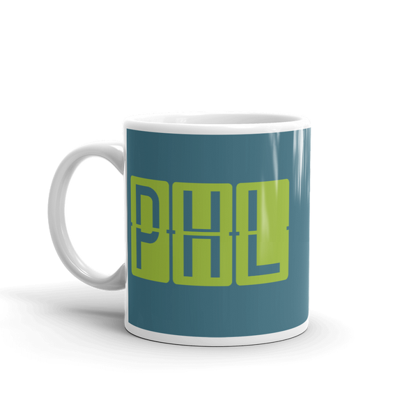 RWY23 - PHL Philadelphia, Pennsylvania Airport Code Coffee Mug - Birthday Gift, Christmas Gift - Green and Teal - Left