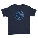 RWY23 - EYW Key West T-Shirt - Airport Code and Vintage Roundel Design - Youth - Navy Blue - Gift for Grandchildren