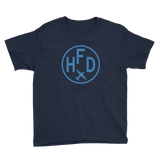 RWY23 - HFD Hartford T-Shirt - Airport Code and Vintage Roundel Design - Youth - Navy Blue - Gift for Grandchildren