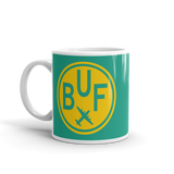 RWY23 - BUF Buffalo, New York Airport Code Coffee Mug - Birthday Gift, Christmas Gift - Yellow and Green-Aqua - Left