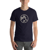 RWY23 - PHL Philadelphia T-Shirt - Airport Code and Vintage Roundel Design - Adult - Navy Blue - Birthday Gift