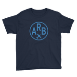 RWY23 - ARB Ann Arbor T-Shirt - Airport Code and Vintage Roundel Design - Youth - Navy Blue - Gift for Grandchildren