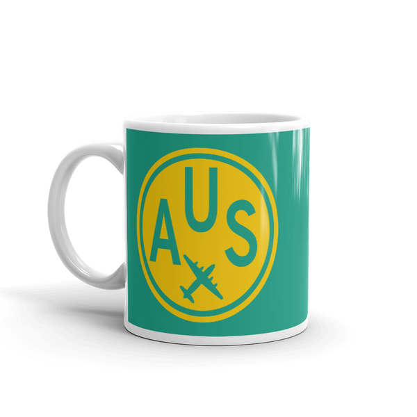 RWY23 - AUS Austin, Texas Airport Code Coffee Mug - Birthday Gift, Christmas Gift - Yellow and Green-Aqua - Left